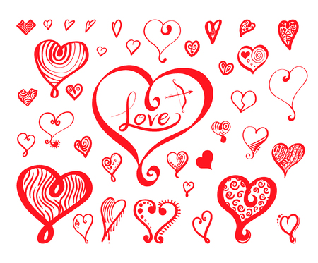 Heart calligraphy collection hand drawn style. Vector illustration for love concept valentine and wedding.
