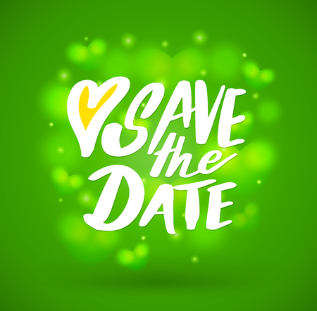 reserved: Save the date, ink hand lettering.