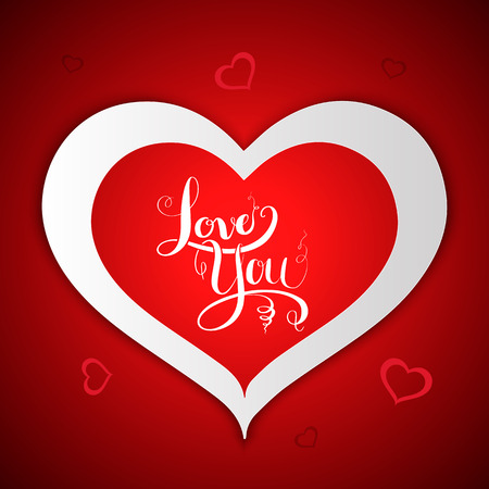 wedding day: Love lettering on heart shaped. Vector illustration for wedding and valentines day.