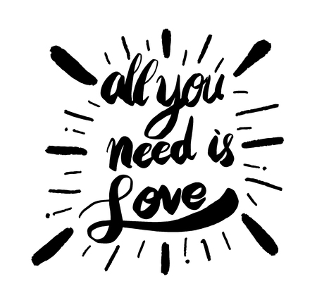lovely couple: All need is love calligraphy with hearts lettering. Vector illustration for love concept valentine and wedding card. Illustration