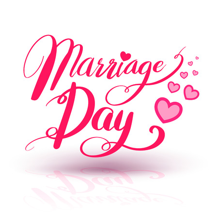 lovely couple: Marriage Day calligraphy heart shaped. Lettering vector illustration for love concept valentine and wedding card.