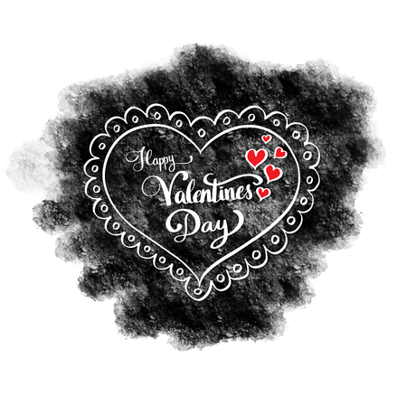 lovers: Happy Valentines day lettering. Vector illustration for valentines card.