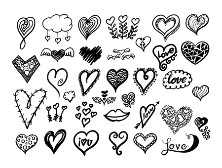 wedding day: Hearts collection. Vector illustration for wedding and valentines day.