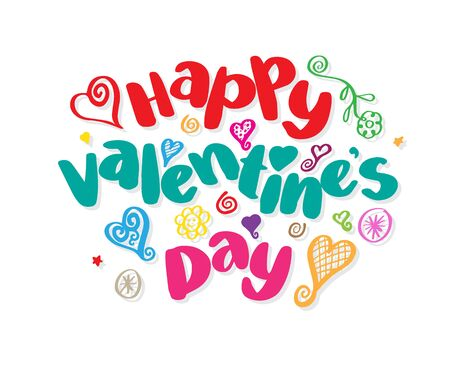 white day: Happy Valentines day lettering. Vector illustration for valentines card.
