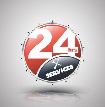 24 hr: Modern icon 24 hours services. Vector illustration for nonstop service business.