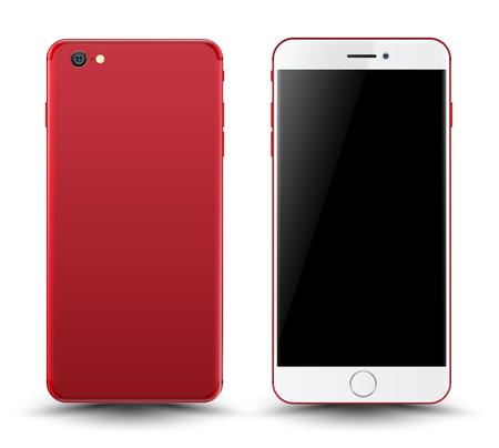 Red smartphone mockup. Easy place image into screen. Vector illustration for printing and web element, Game and application mockup.