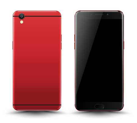 Realistic smartphone mockup easy place image into screen smartphone. Vector illustration cell phone isolated.