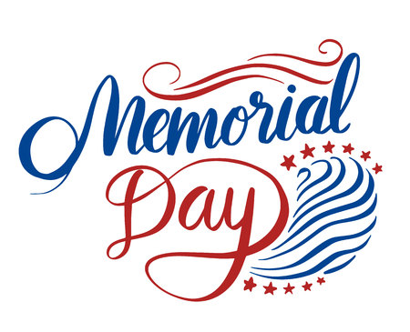 national hero: Happy Memorial Day lettering. Vector illustration. Illustration