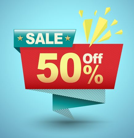 50 off: SALE banner origami paper style for promotion advertising. Vector illustration.