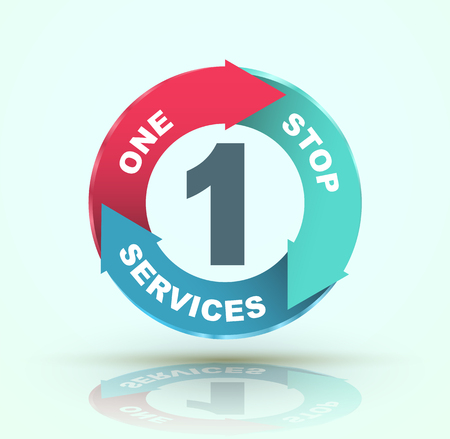 One stop services icon. Vector illustration. Illustration