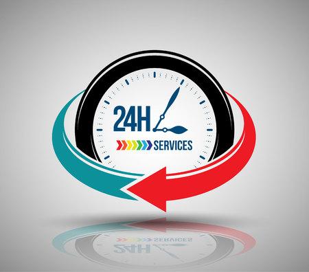 24 時間サービスのバナー。ベクトルの図。  イラスト・ベクター素材