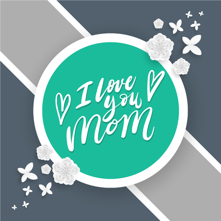 Love Mother for Mothers Day card. Vector illustration. Çizim