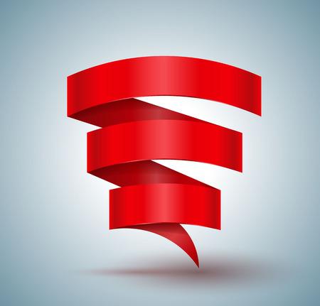 Red ribbon banner zigzag three step for promotion and greeting card. Vector illustration. Ilustração