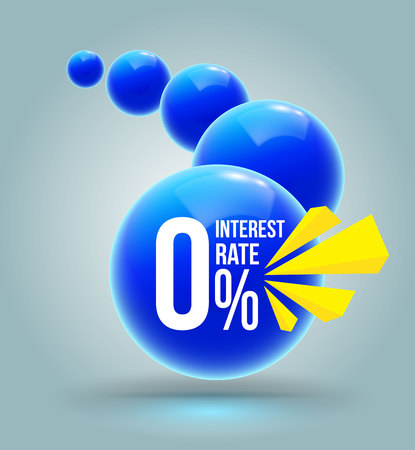 Blue circles zero percent banner. Vector illustration for promotion advertising pay by installments. Illustration