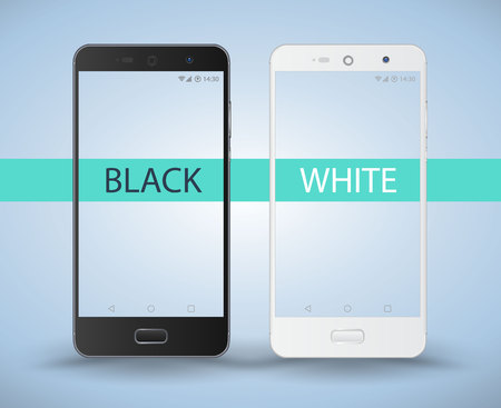 Smartphone black and white. Vector illustration for technology application and game demo.