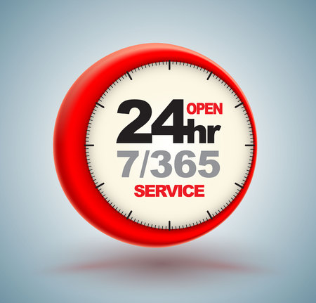 クロック スケール ロゴ 3 d スタイルで 24 時間サービス。ベクトルの図。 写真素材 - 83910186