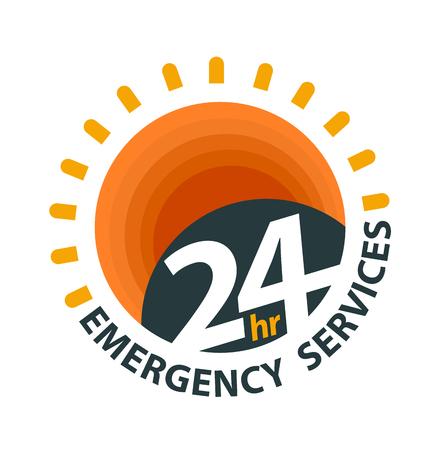 24-uurs hulpverleningslogo voor dagelijks geopend grafisch pictogram. Vectorillustratie over hulpdiensten. Logo