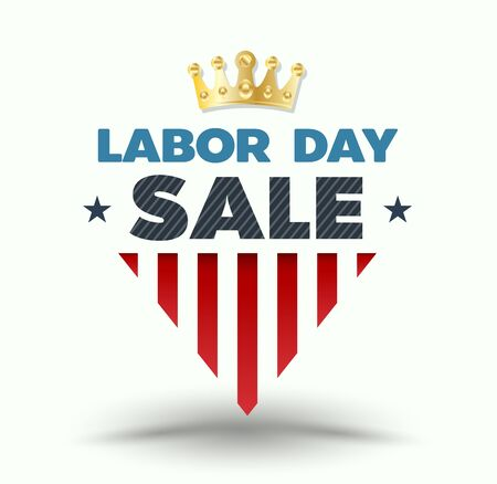 Labor day sale banner with gold crown. Vector illustration.