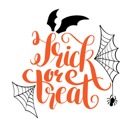 Happy Halloween vector lettering. Holiday calligraphy with bats spider and web for banner, poster, greeting card, party invitation. Isolated illustration.