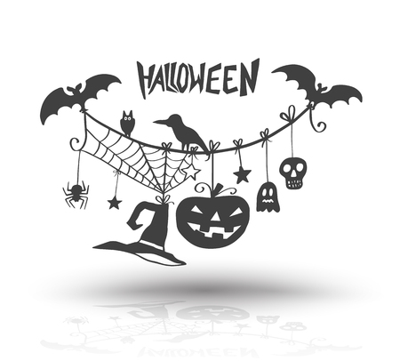 Halloween objects for halloween card and poster invite. Vector illustration. Vettoriali