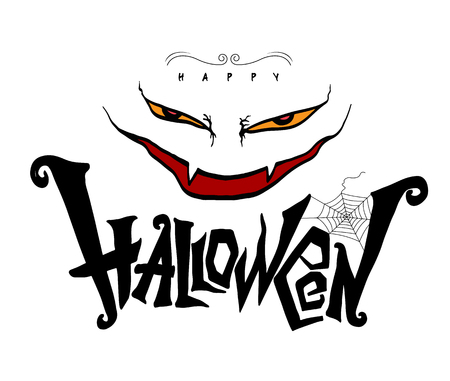 31st: Halloween lettering design with monster face drawn style for Halloween party advertising poster element. Vector illustration.