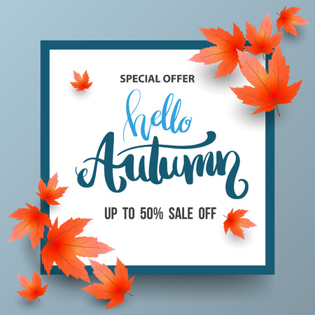 Autumn Sale banner with maples. Vector illustration.