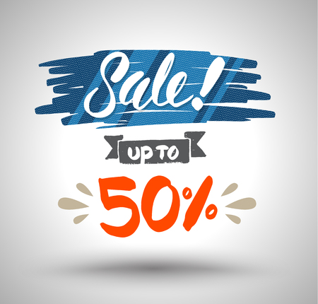 half price: Sale banner drawing style for promotion advertising sale. Vector illustration. Illustration