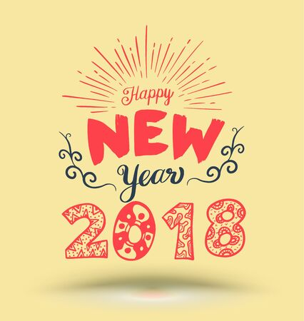 happy new year lettering element for new year greeting card and advertising promotion stock vector