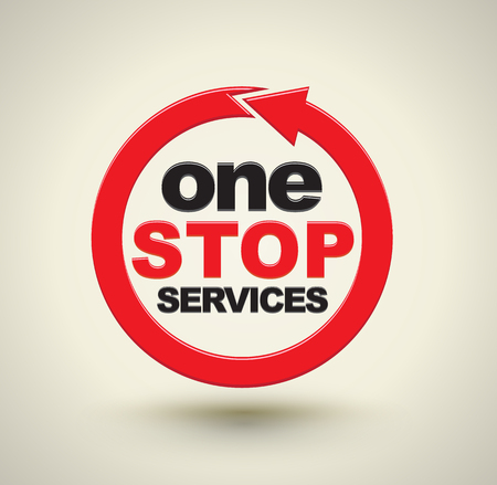 One stop services with red arrow circle. Vector illustration.