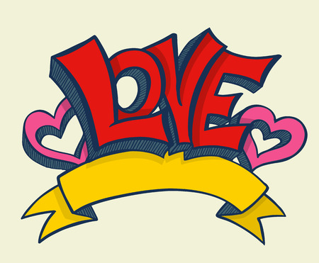 Love with hearts drawn for love concept wedding and valentine. Vector illustration.