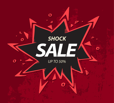 Shock sale banner on crack wall drawing style for promotion advertising. Vettoriali