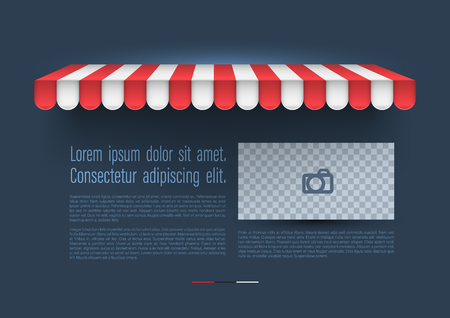 Store striped awning with retro banner. Vector illustration for promotion advertising.