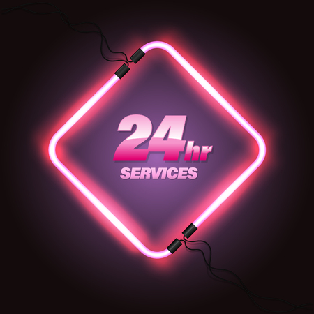 Template for emergency 24hr services and support Vector illustration.
