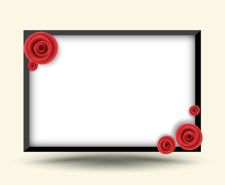 Rectangle frame with rose for photo frame and love card. Vector illustration.