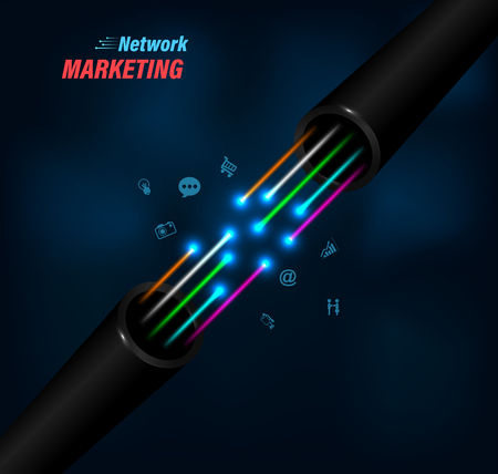 Fiber optic connection on business communication  for network technology