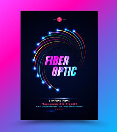 Modello di copertina per fibra ottica con tecnologia di rete. Illustrazione vettoriale