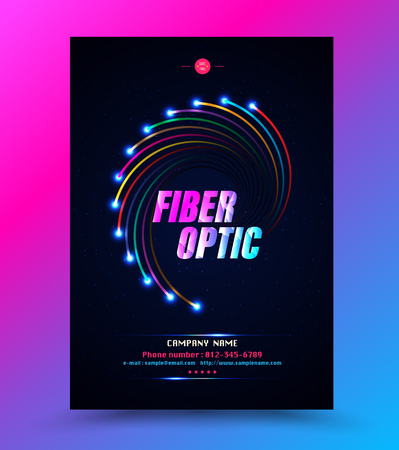 Cover template for network technology fibre optic. Vector illustration.