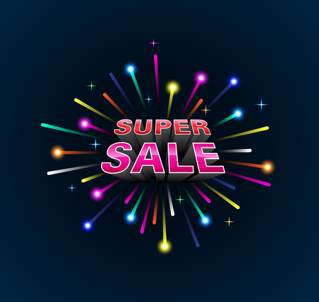 Lights multi color exploded with super sale 3D style Vector illustration.