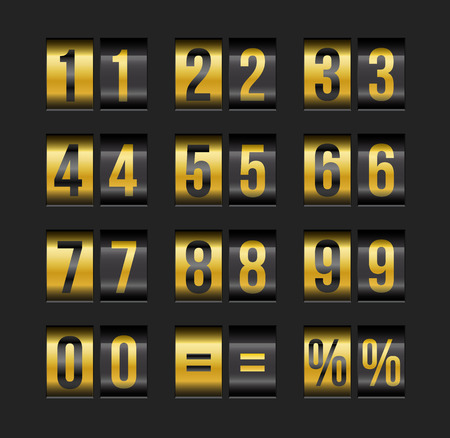 A Vector countdown timer and date, calendar scoreboard numbers. Illustration