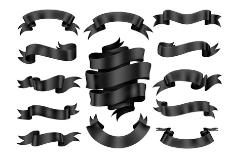 Black ribbon banner set. Vector illustration.