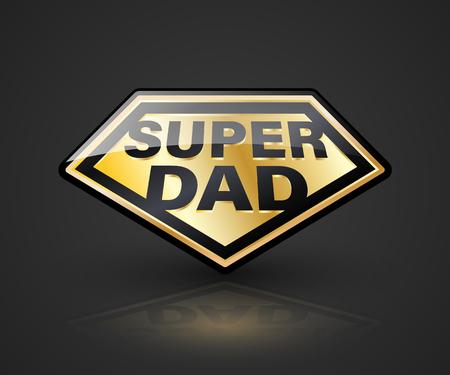 超级爸爸盾符号为元素父亲节。矢量插图。