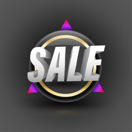 Sale banner 3D style vector illustration for promotion element Vetores