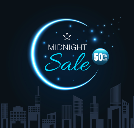 Midnight sale with crescent moon and city night style. Vector illustration.