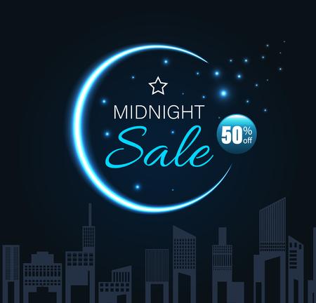 Saldi di mezzanotte con falce di luna e stile notturno cittadino. Illustrazione vettoriale. Vettoriali