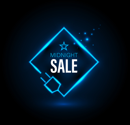 Midnight sale banner with plug. Vector illustration for promotion advertising.