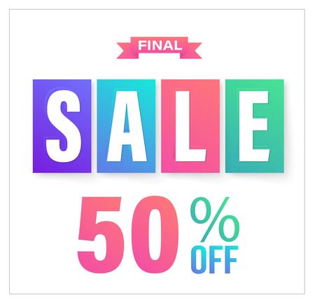 Final Sale banner for promotion 50 percent off. Vector illustration. Ilustração