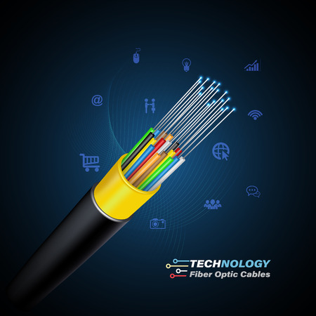 Fiber optic cable connecting concept for technology communication. Vector illustration for network conceptual. Çizim