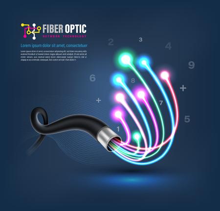 Concepto de conexión de cable de fibra óptica para la comunicación tecnológica. Ilustración de vector de red conceptual.