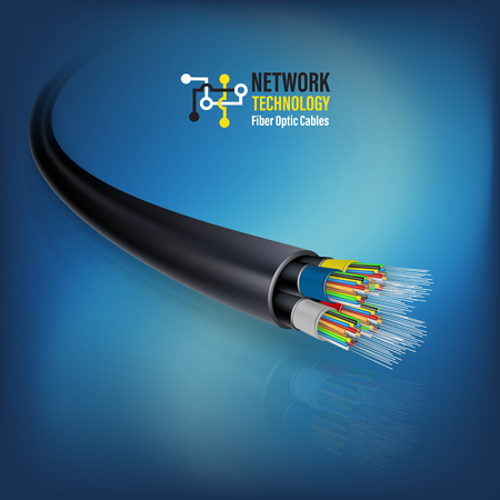 Fiber optic cable connecting concept for technology communication. Vector illustration for network conceptual. Stock Illustratie