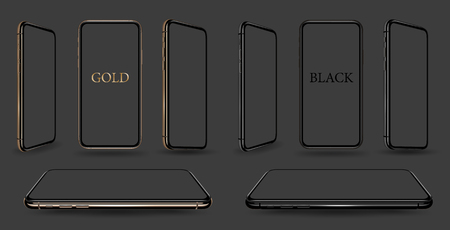 Smartphone gold and black mockups  vector realistic.